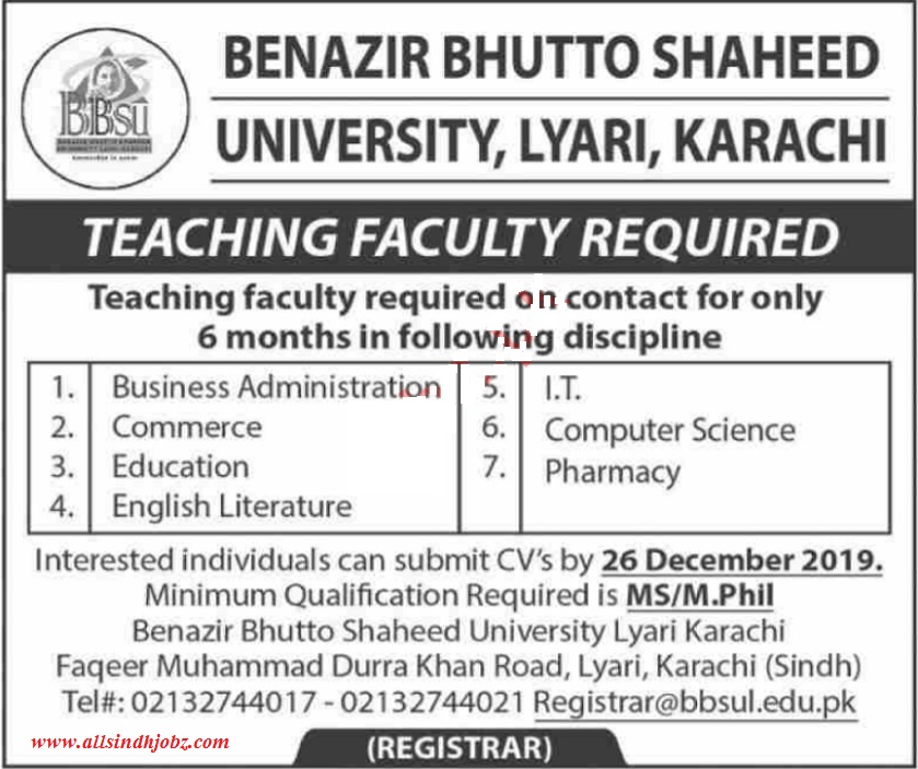 Benazir Bhutto Shaheed University Teaching Posts Karachi 2019