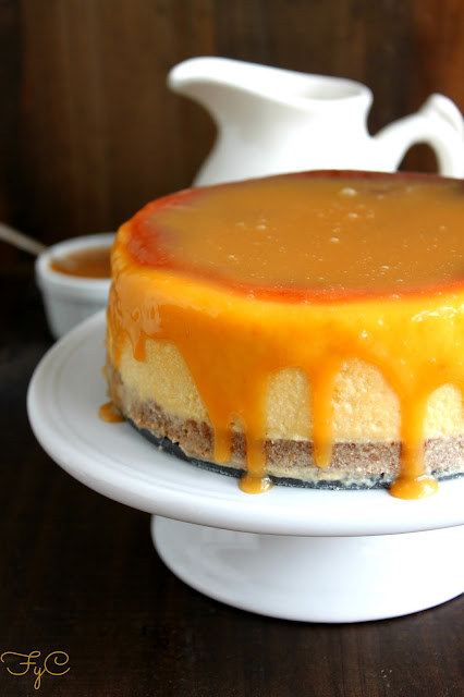 Cheesecake de chocolate blanco y caramelo