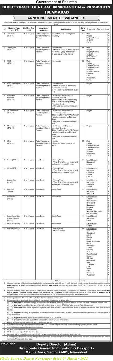 Directorate General Immigration and Passport Ministry of Defense Jobs March 2021 Download Application forms