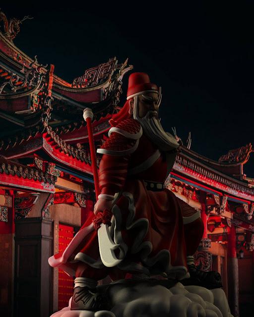 เทพเจ้ากวนอูในชุดซานตาคลอสสีแดง