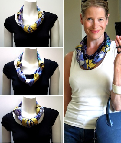 How to wear an Hermes scarf as a necklace Hermes Scarves How To Wear