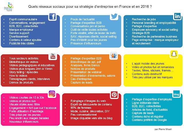 Choisir les bons reseaux sociaux pour son entreprise en France et 2016