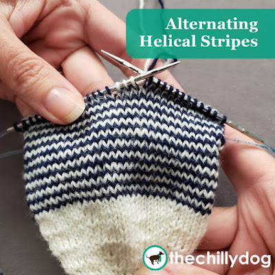 Helical Knitting Tutorial: Learn how to prevent unsightly jogs when knitting alternating color stripes in the round.