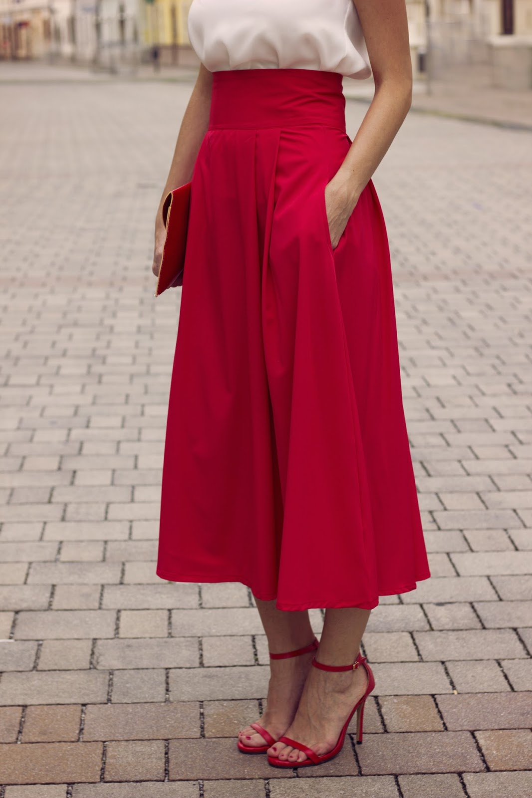 high waist red midi skirt