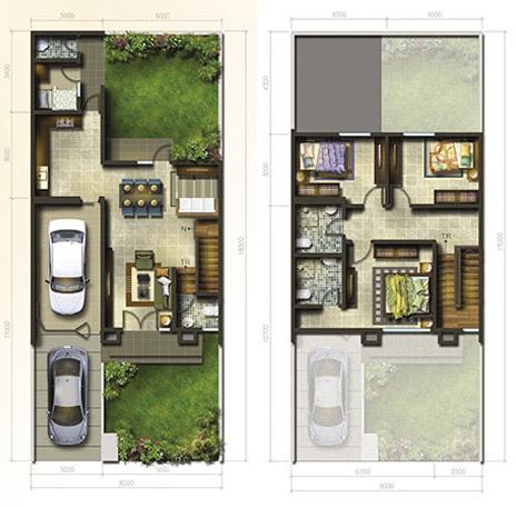 lingkar warna: 8 denah rumah minimalis ukuran 8x18 meter 4