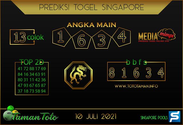 Prediksi Togel SINGAPORE TAMAN TOTO 10 JULI 2021