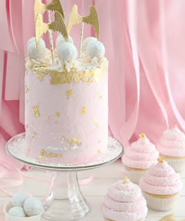 Pink Champagne and Gold Leaf Layer Cake