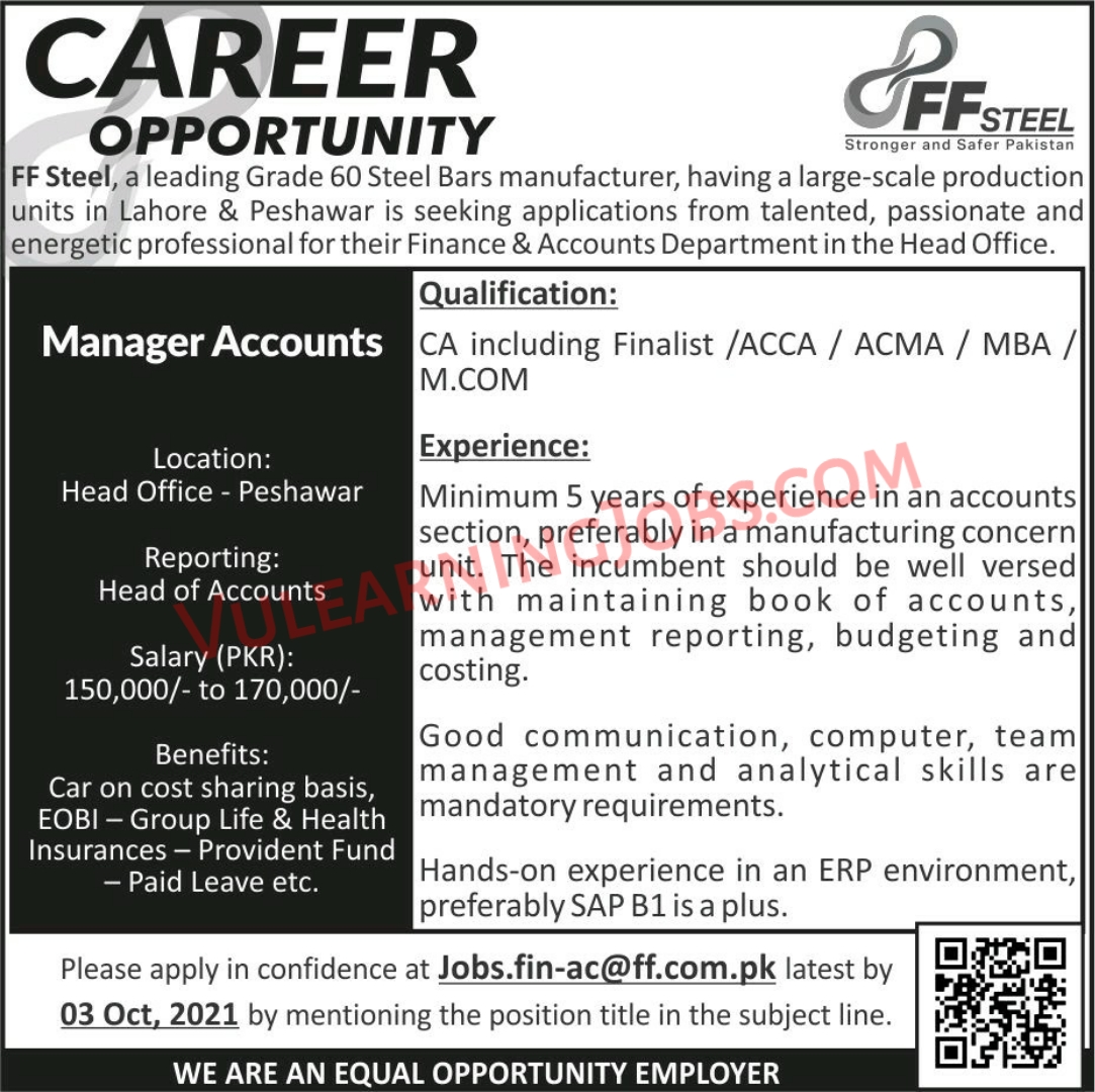 FF STEEL Jobs September 2021 For Manager Accounts Latest