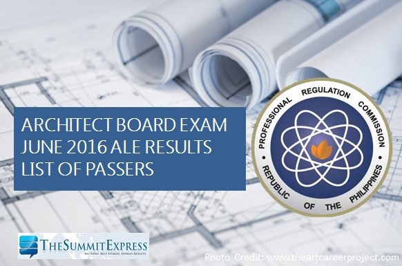 List of Passers: June 2016 Architect board exam (ALE) results