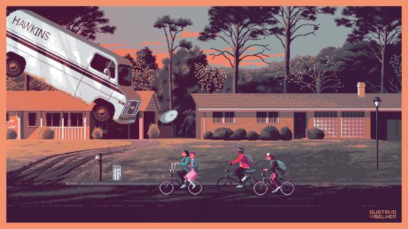 Gustavo Viselner ilustrações pixel art filmes tv referências Stranger Things