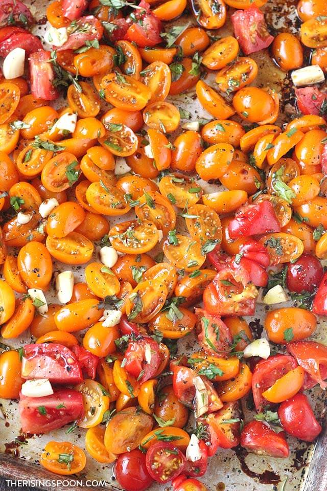 Easy Roasted Tomatoes with Herbs & Garlic (For Soup, Sauces, Appetizers, Sides & Garnishes)