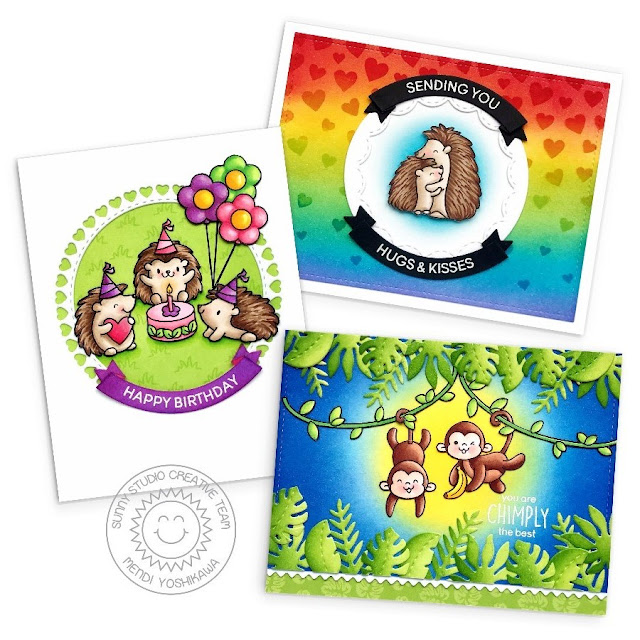 Heffy Doodle & Sunny Studio Collaboration Blog Hop: Quill You Be Mine & Chimply The Best Cards by Mendi Yoshikawa