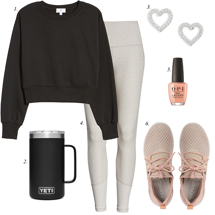 yeti mug, sneakers, workout leggings, black sweatshirt, heart earrings