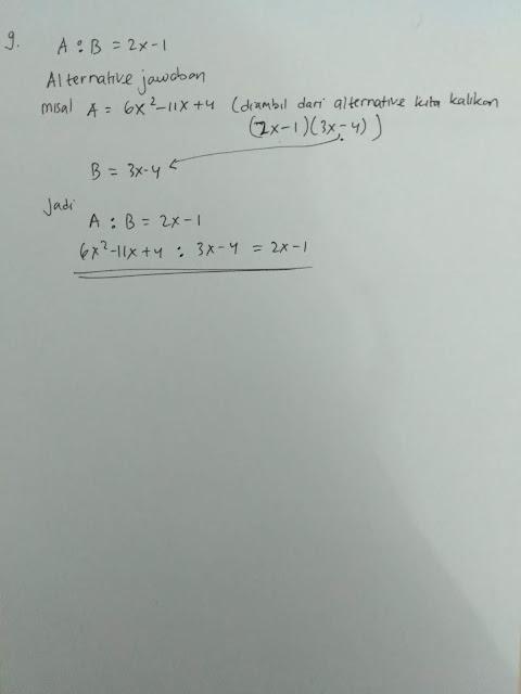 No 9 Soal dan Jawaban Ayo Berlatih 3.4 Aljabar Matematika kelas 7 Halaman 231-232