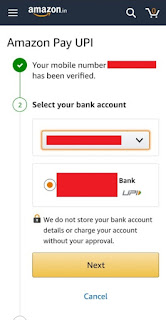 Amazon pay upi cashback bank select