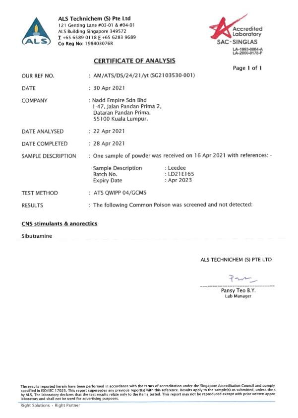 Laporan Ujian Makmal ALS (SINGAPURA) yang menyatakan bebas daripada sibutramine