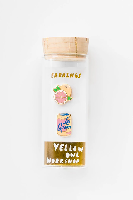 La Croix themed earrings from Yellow Owl Workshop