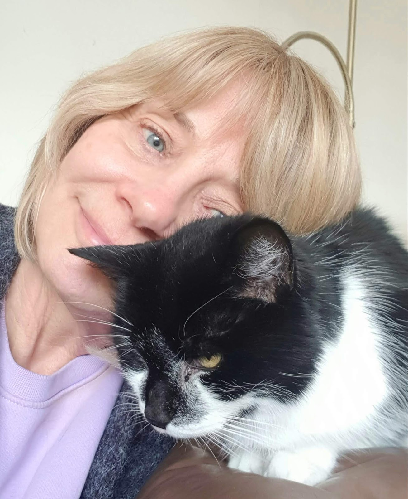 Over 50s style blogger Gail Hanlon with Molly the cat, aged 16