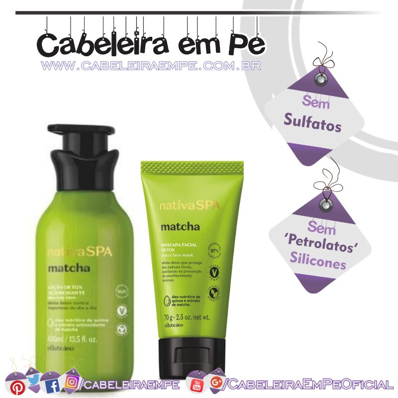Loção Desodorante Corporal e Máscara Facial Detox Matcha Nativa Spa - O Boticário