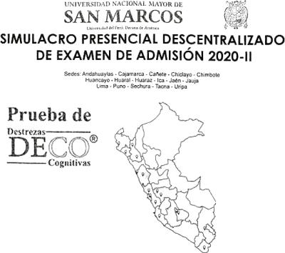 simulacro examen admision san marcos 2020 II preguntas deco mapa peru