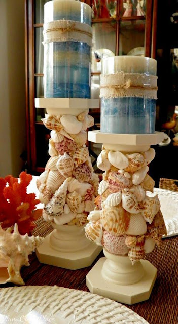 Seashell encrusted candle holders - Plum Creek Place DIY Tutorial