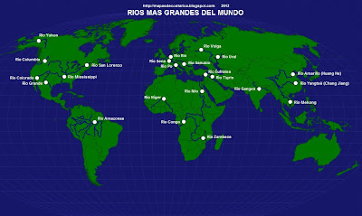 Mapa Rios Del Mundo.Rios Mapamundi
