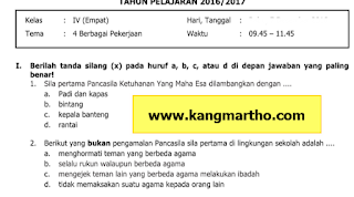 Soal PAS Kelas 4 Tema 4 SD Kurikulum 2013