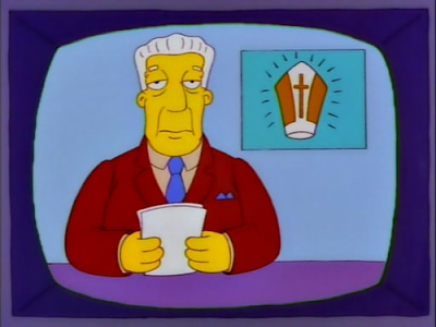 The Simpsons, Kent Brockman, phony pope, high-top sneakers, incredibly foul mouth
