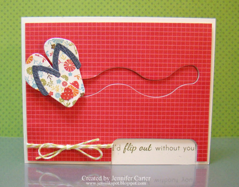fa2e18c17 I wanted to use my flip flop dies and I wanted to make them move. I kept  the card very simple as I wanted to only highlight the sentiment and the  shoes.