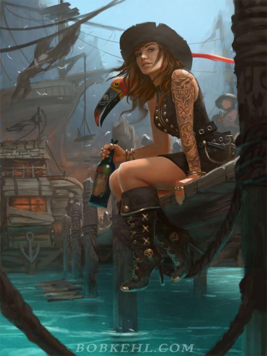 Bob Kehl deviantart artstation arte ilustrações mulheres piratas fantasia