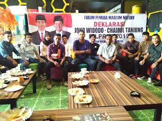 Forum Pemuda Maritim Maluku Deklarasi Dukung Jokowi-Chairul Tanjung Pilpres 2019