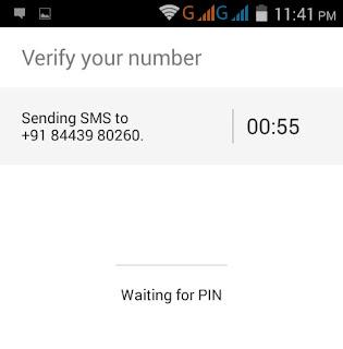 mobile no dene ke bad verify code enter kare