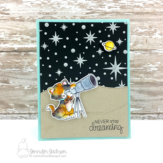 Newton's Nook Designs & Xyron Inspiration Week - Day 5 | Space Kitty card by Jennifer Jackson using Cosmic Newton Stamp Set and Starfield Stencil by Newton's Nook Deisgns | #newtonsnook #xyroninc