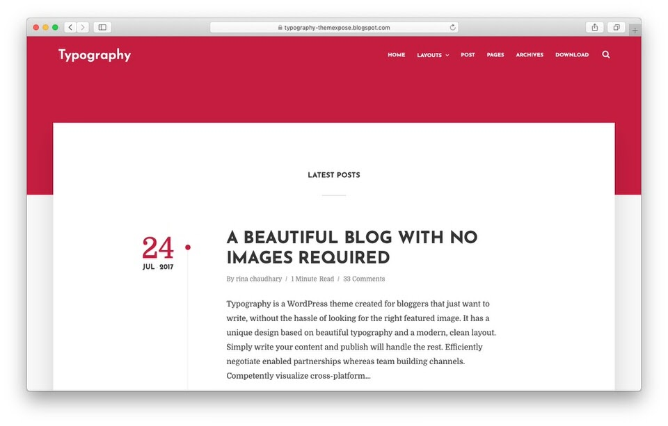 Text Based Minimal Blogger Theme