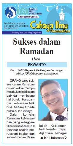 Tulisan Hari ke-13 Program Cahaya Ilmu Ramadhan tahun 2019