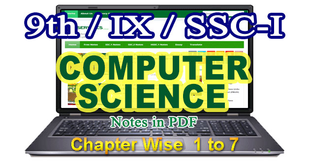 9th Class Notes for Computer Science Chapter Wise List