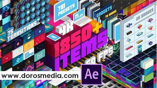سكربتات افتر افكت سكربت رائع لإنشاء مقاطع الموشن جرافيك Big Pack of Elements  Adobe After Effects