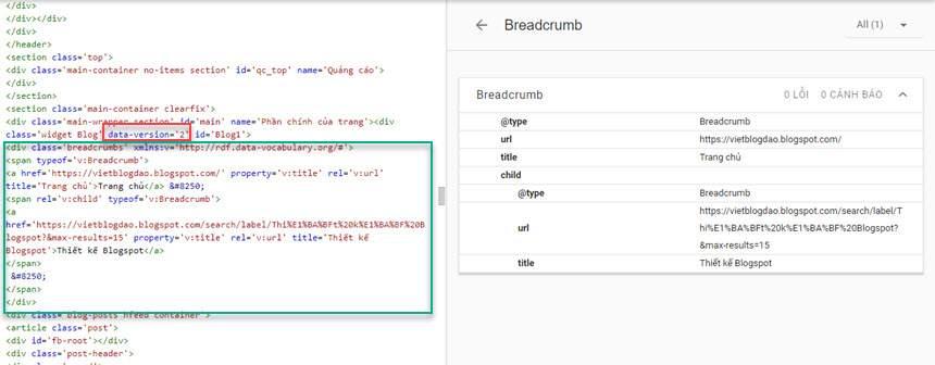 Thêm dữ liệu breadcrumb trong widget Blog1 version 2