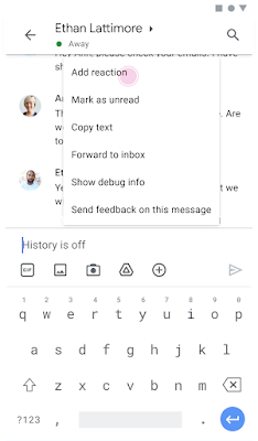 Image of emoji picking on Android phone showing the Add Reaction option