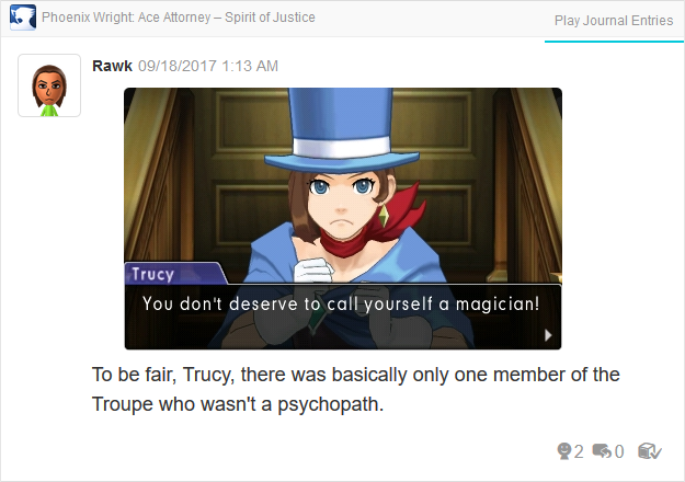 Phoenix Wright Ace Attorney Spirit of Justice Trucy Troupe Gramarye magician psychopath