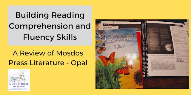 A Mom's Quest to Teach:  Building Reading Comprehension and Fluency Skills: A Review of Mosdos Press Literature - Opal with teacher's edition open