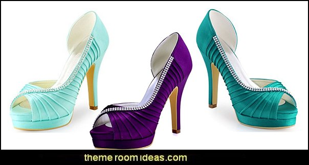 Women High Heel Pumps Platform Peep Toe D'orsay Pleated Satin Evening Prom Wedding Shoes