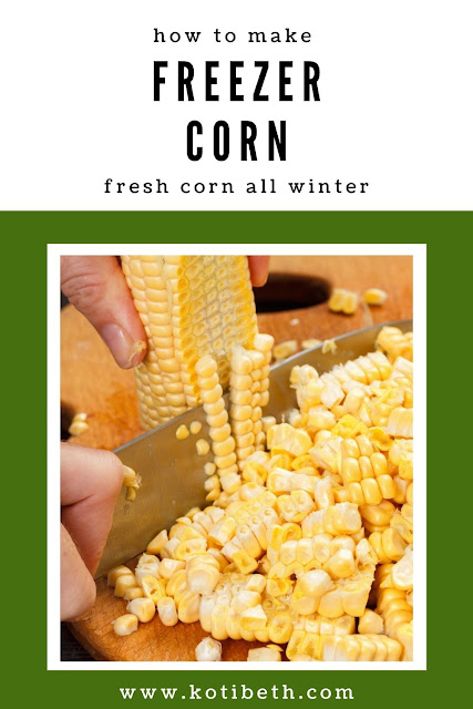 Learn how to make the best freezer corn. This is an eas way preserve corn for fresh and crisp sweet corn all winter. Learn how to do freezer corn by blacning it to make it taste like fresh corn. Freezing corn cut off the cob takes up less room in the freezer and tastes better.  The best way to make freezer corn is to blanch it and then cut it. How do you make freezer corn?  Get the recipe here! #freezercorn #corn #frozencorn