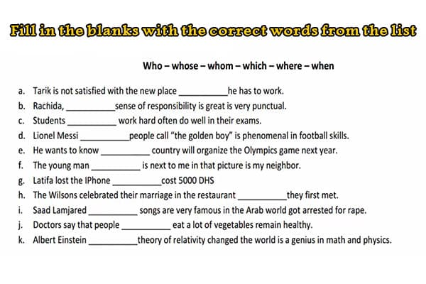 realtive pronouns exercise