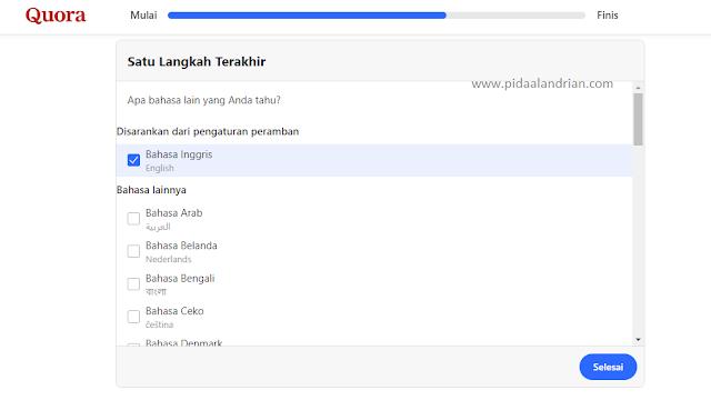 Pilih bahasa di Quora
