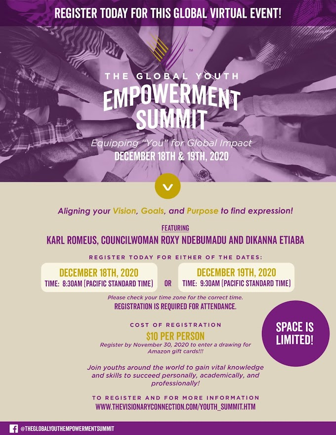 EVENT: Karl Romeus, Roxy Ndebumadu, Other Keynote Speakers Set For The Global Youth Empowerment Virtual Summit