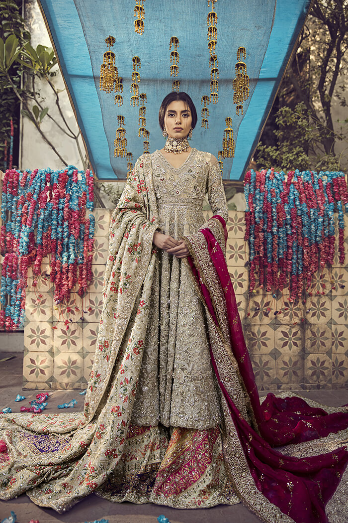 Bridal Anarkali Shirt with Sharara