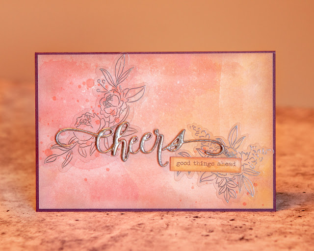 Cheers Die from Quietfire Design / Burnished Silver Modern Gilding Powder