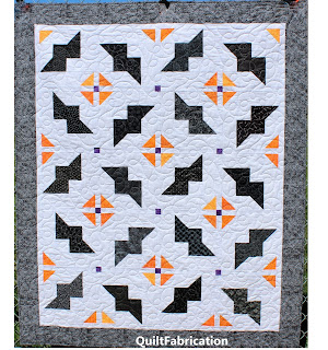 BAT QUILT-QUILT PATTERN-EASY QUILT PATTERN-HALLOWEEN QUILT-BLACK AND WHITE QUILT