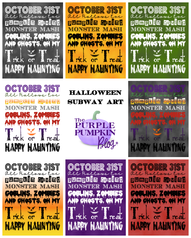 Free Printables - Halloween Subway Art Posters - perfect for a frugal Halloween party because they're FREE to download + tons more Halloween printables!